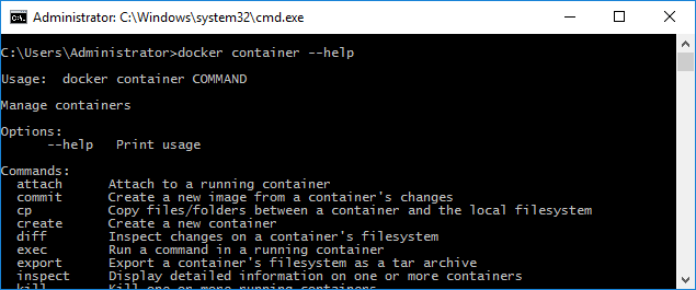 Cmd running in a container